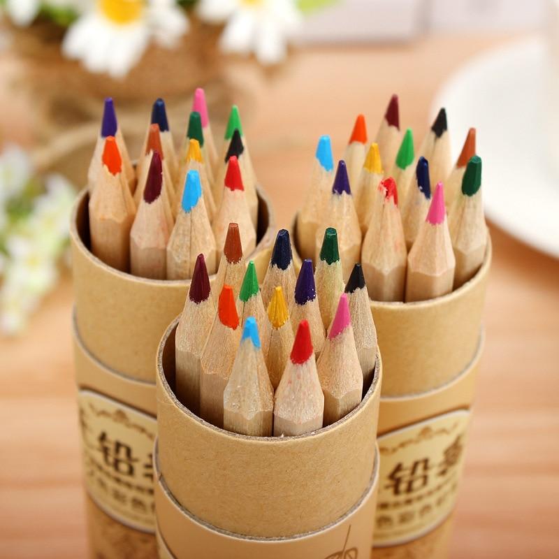 Pequeño árbol 12 Colores/caja tubo lápiz a todo color estudiantes dibujo creativo lápiz plomo veneno lápiz grasa lápiz borrar lápiz