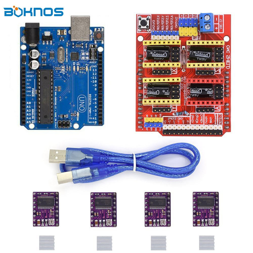 4pcs DRV8825 Stepper Motor Driver Heatsink + CNC Shield Expansion Board + UNO R3 Board USB Cable Kits for Arduino V3 3D Printer