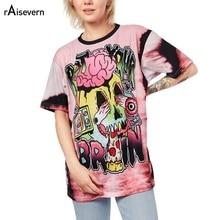 Raisevern Harajuku kafatası T shirt Roy beyin tüm baskılı 3D Tshirt sokak stili Hip Hop Tee üstleri artı boyutu Dropship