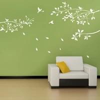Autocollants muraux blancs en forme de Branches darbre  feuilles doiseaux  pour la maison  pour le salon  decor de fond pour fenetre de jardin