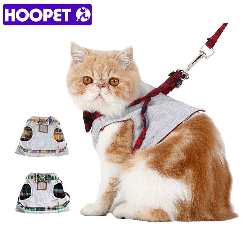 HOOPET samll Cat выгула собак Ткань проводов куртка + поводок набор 2 Размеры модные Дизайн высокое качество британский стиль хорошая вентиляция