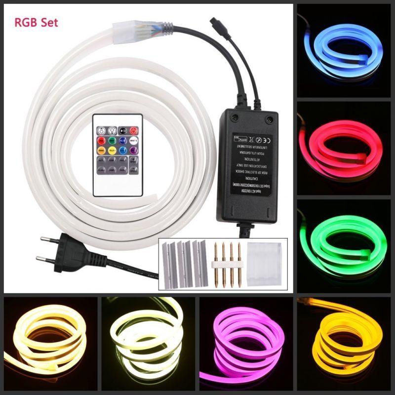1m 5m 10m 20m 100m 220V RGB tira de neón Led luz 120Led/m impermeable Flexible Led cuerda de interior al aire libre + enchufe de alimentación clip kit