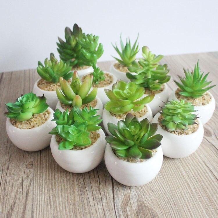 Mini artificial en maceta verde planta bonsái suculenta conjunto falsa flor florero decorativo florero flor casa Decoración Para balcón