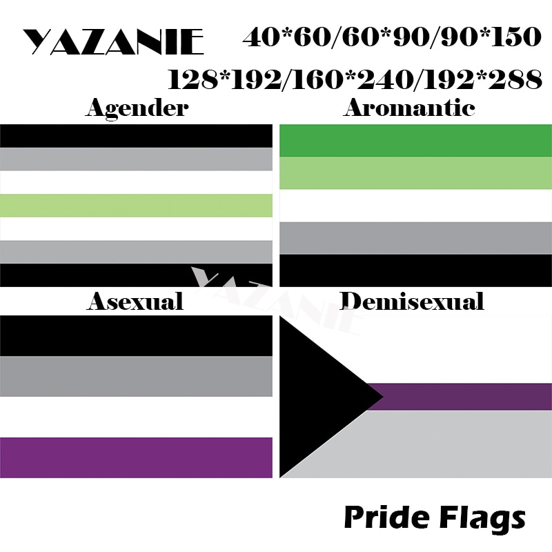 Yazanie 128*192 cm/160*240 cm/192*288 cm agender aromantic assexual demisexual neutrois orgulho bandeiras e banners lgbt arco-íris bandeira