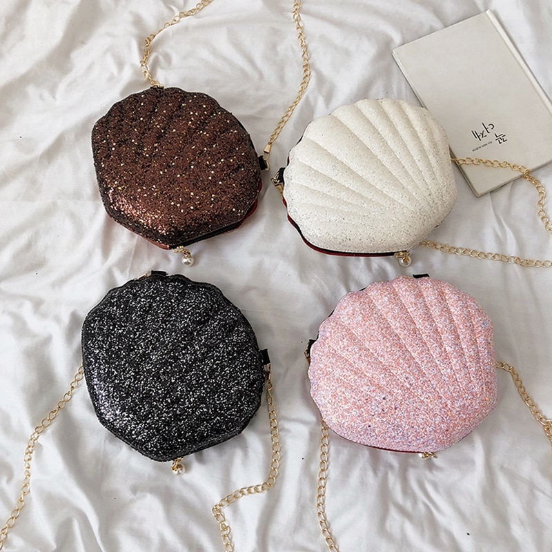 Novo 2019 Mulheres Menina Shell Messenger Bags Lady Lantejoulas Bling Bling Saco Corpo Cruz Bolsa de Ombro Bolsa