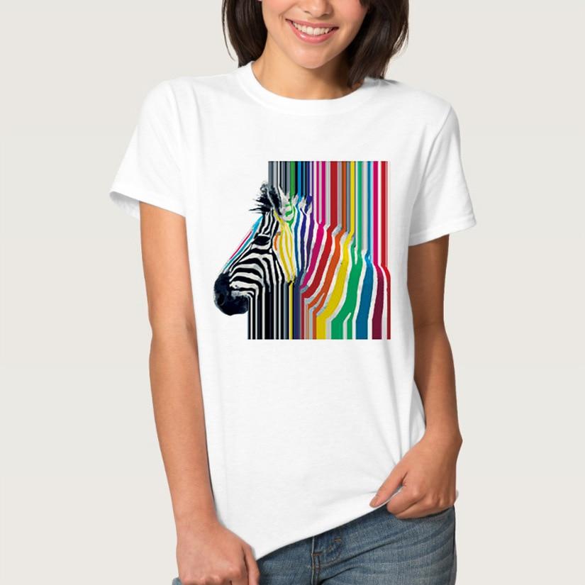 Coloré zèbre rayure impression t-shirt femmes à manches courtes O cou ample t-shirt 2020 été femmes t-shirt hauts Camisetas Mujer