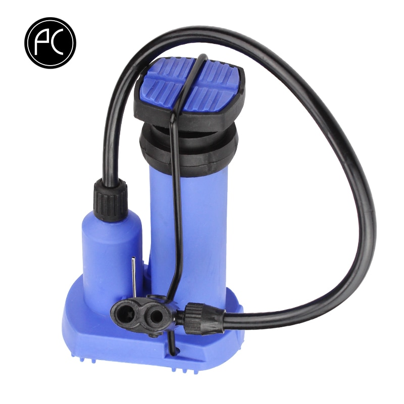 PCycling Bicycle Pump Mini Foot Pedal Pump Portable Floor Air Pump External Hose Fits AV/FV Ball Pump MTB Road Bike Inflator