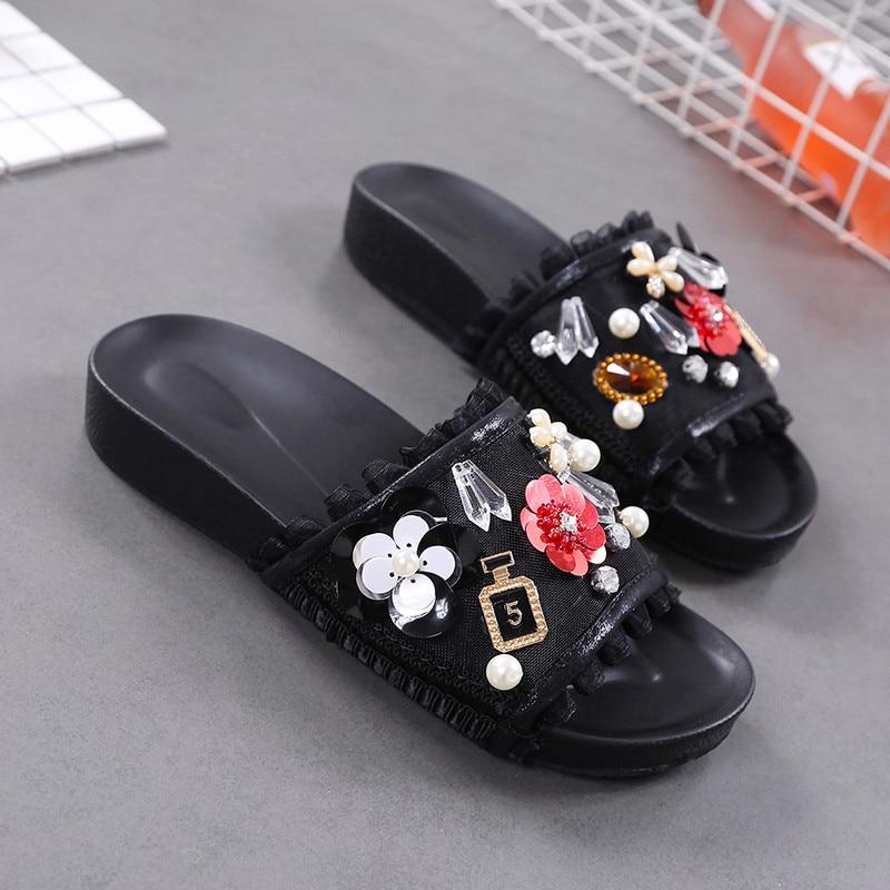 Vogue Nice Summer New Lolita Slippers Woman Mesh String Bead Rhinestone Flip Flops Shoes Female Flat Slides White Shoes