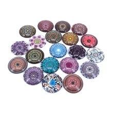 20 pièces/lot 18mm 20mm 25mm rond bohême Vintage motif verre Cabochon pour bricolage fabrication de bijoux résultats et composants T060