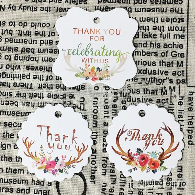 50 Pcs/set Cute Letter Thank You Paper Gift Tags Flower White Paper Hang Tags Floral Antlers DIY Paper Label Wedding Party Gift