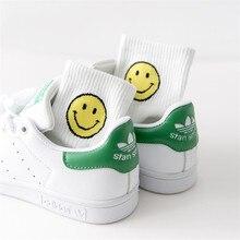 2021 estate nuovi calzini da donna in cotone sorriso stampa strisce calzino divertente Unisex Harajuku donna Casual calzini carini donna Sox Meias