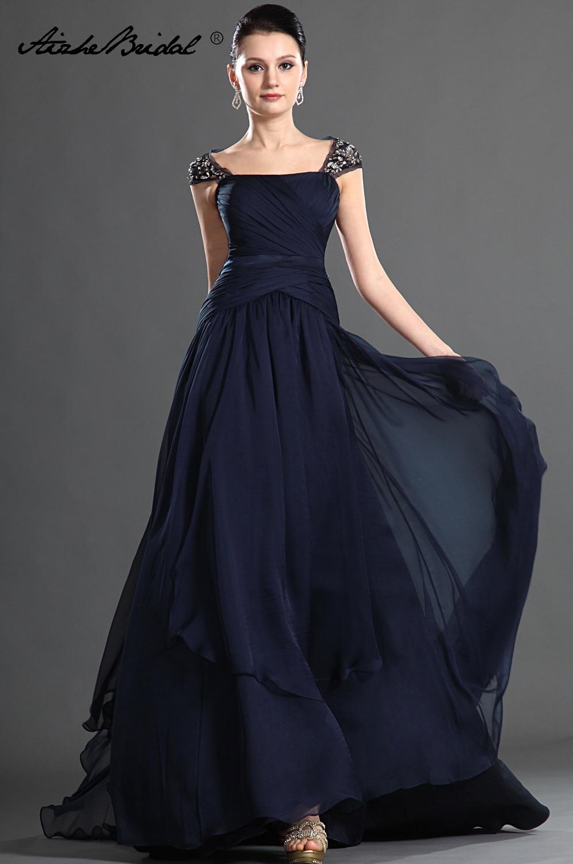 Gorgeous A Line Cap Sleeve Backless Chiffon Mother of the Bride Dress Long Formal Women's Dress