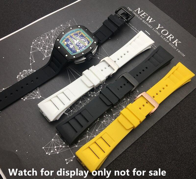 Marcas 20mm rojo blanco negro resistente al agua correa de reloj de goma Natural correa de reloj reemplazar para Richard y Mille Correa pulsera hebilla