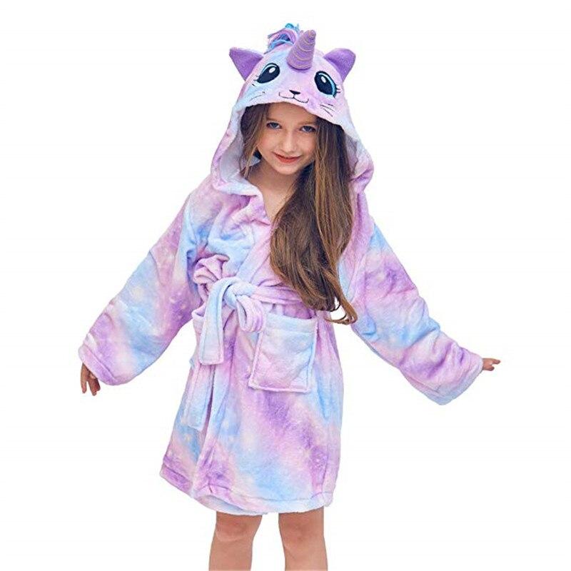 Nuevo albornoces infantil con capucha de unicornio, batas de baño de estrella arcoíris para niños y niñas, pijamas Peignoir Enfant, camisón, ropa de dormir