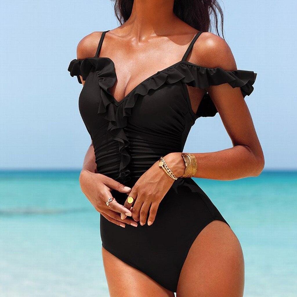 Women Sexy Bikini Deep Plunge Biquini One Piece Swimwear Lace-up Backless Monokini Bathing Suit Bathing Suit Swimming Beach Wear
