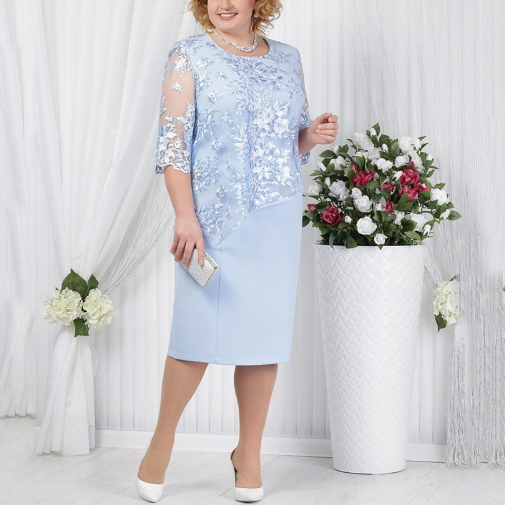 Plus Size Party Sheer Half SleeveFloral Lace Layered Mother of Bride Midi Dress new