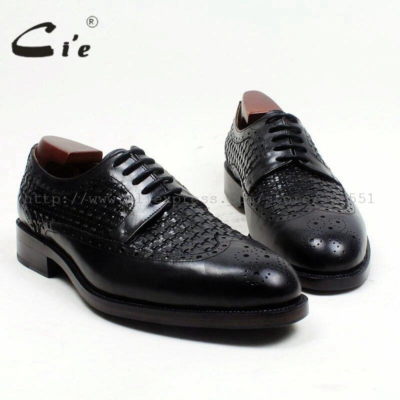 Cie-حذاء جلد أسود دائري للرجال ، مصنوع يدويًا ، بأربطة ، نعل خارجي ، شحن مجاني ، D166