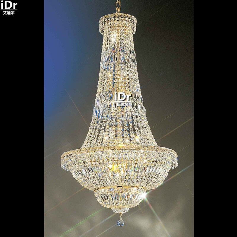 Люстры Современные хрустальные лампы Золотая ручная работа Металлическая лампа Освещение маленький канделябр «Империя» D70cm x H135cm