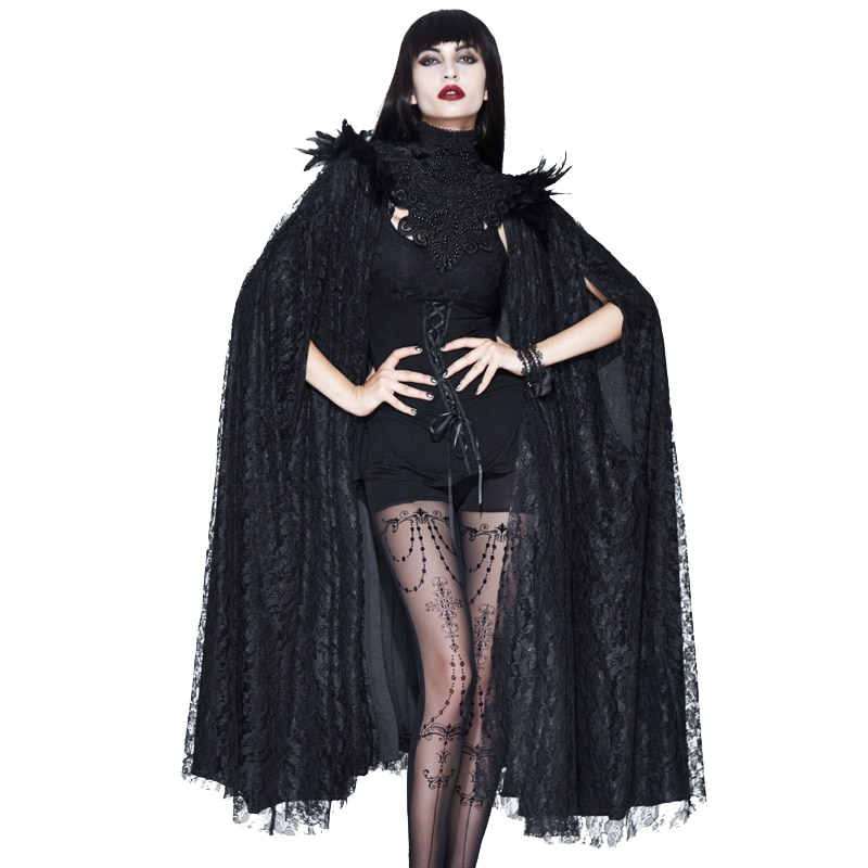 Evalady-معطف نسائي من الدانتيل القوطي ، معطف أسود ، عتيق ، ياقة عالية ، أكمام الخفاش ، فستان طويل لحفلات الهالوين