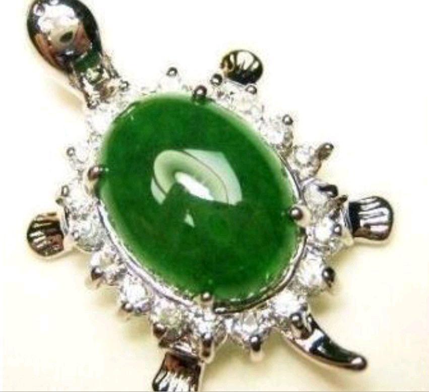 Envío Gratis Jewelr 005316 Natural verde Oval cuenta incrustación colgante con forma de tortuga collar