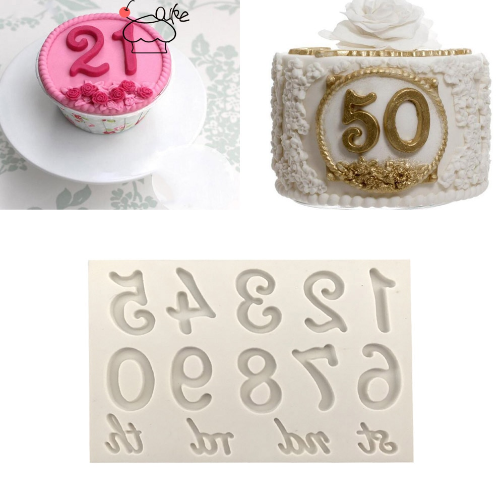 Aouke Formen Große Zahlen Silikon Form 3D Fondant Form Kuchen Dekorieren Werkzeuge DIY Gumpaste Küche Backformen K134