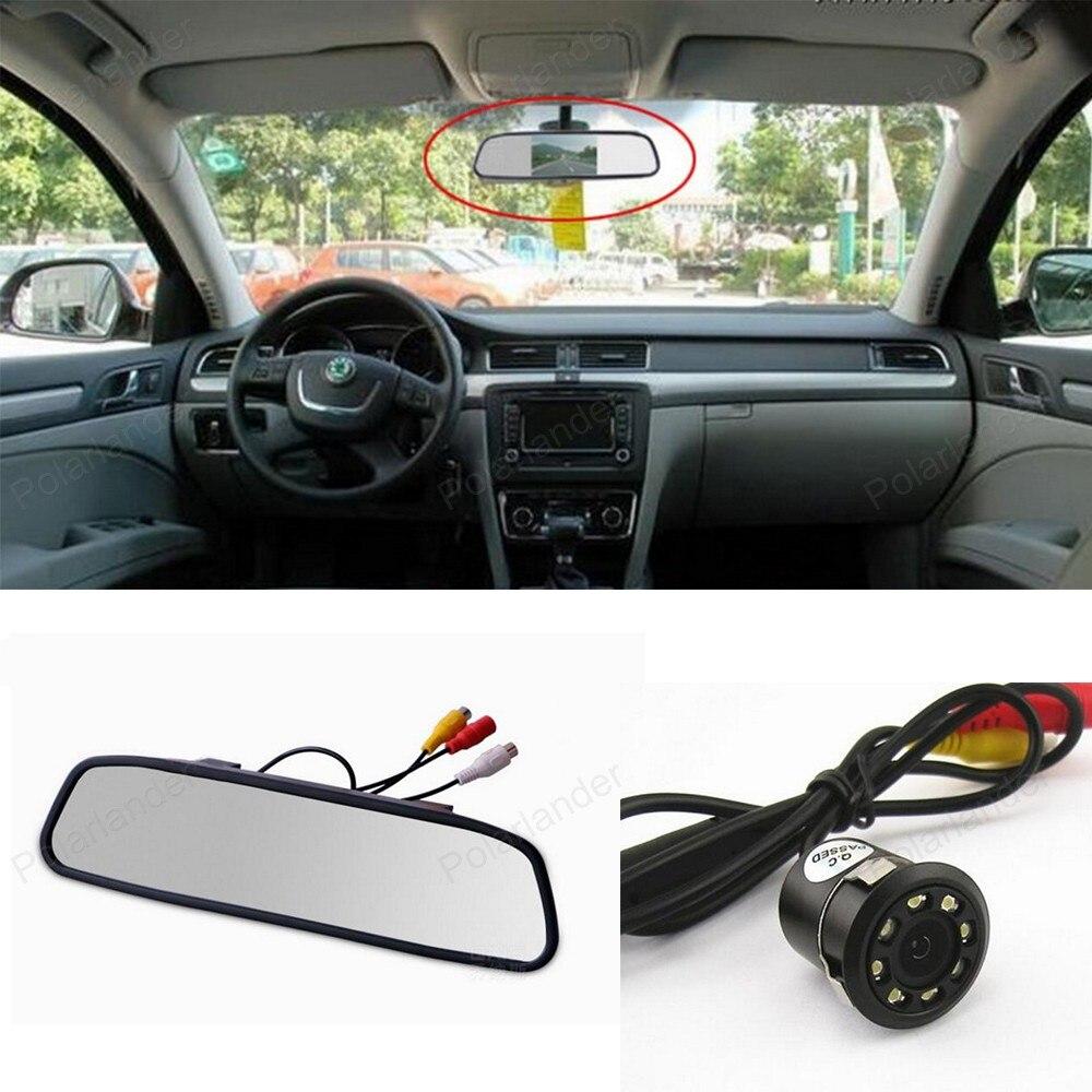 Monitor de coche con espejo retrovisor TFT LCD de 4,3 pulgadas con 18mm 8 LED de visión nocturna cámara de Vista trasera de estacionamiento asistencia de estacionamiento para coche