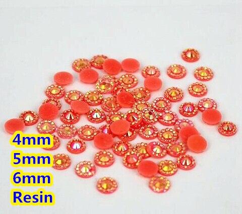 Gelatina naranja AB Color girasol 4mm, 5mm, 6mm facetas de resina plana trasera diamantes de imitación decoración de gemas para uñas, diamantes de imitación para prendas de vestir