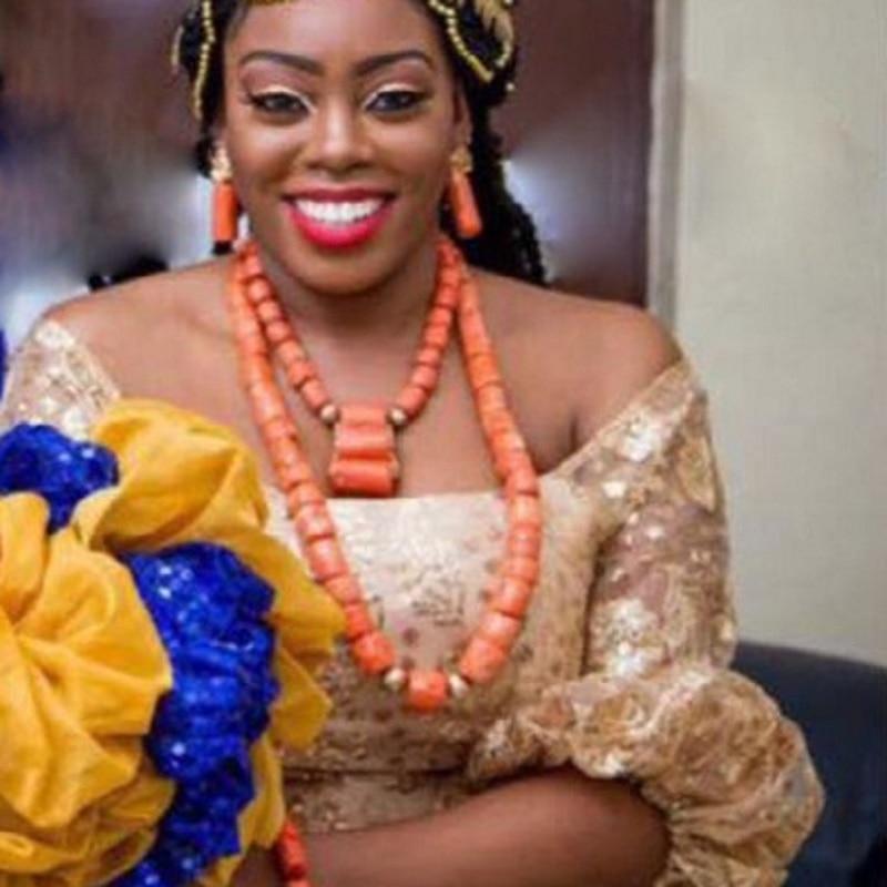 URORU الأفريقي مجوهرات مجموعة الطبيعة الأصلي المرجان الخرز مجموعة مجوهرات للنساء الأزياء 2 طبقات النيجيري قلادة ل الزفاف