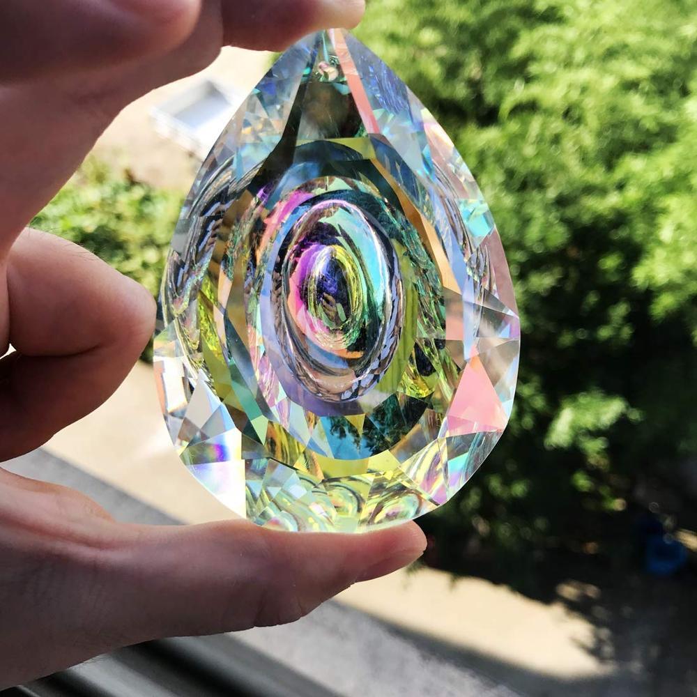 """Pakabinama krištolinės prizmės saulės gaudyklė langų dekoravimui 76 mm AB spalvos šviestuvų dalys """"pasidaryk pats"""" namų dekoro aksesuarai"""
