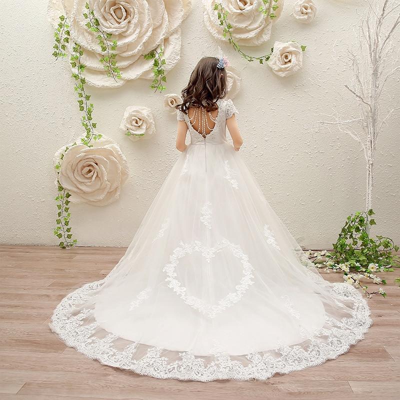 فستان زفاف طويل مزين بالورود ، فستان زفاف أبيض مع دانتيل مطرز ، للتواصل الأول ، فستان عرض لعيد الميلاد للأطفال