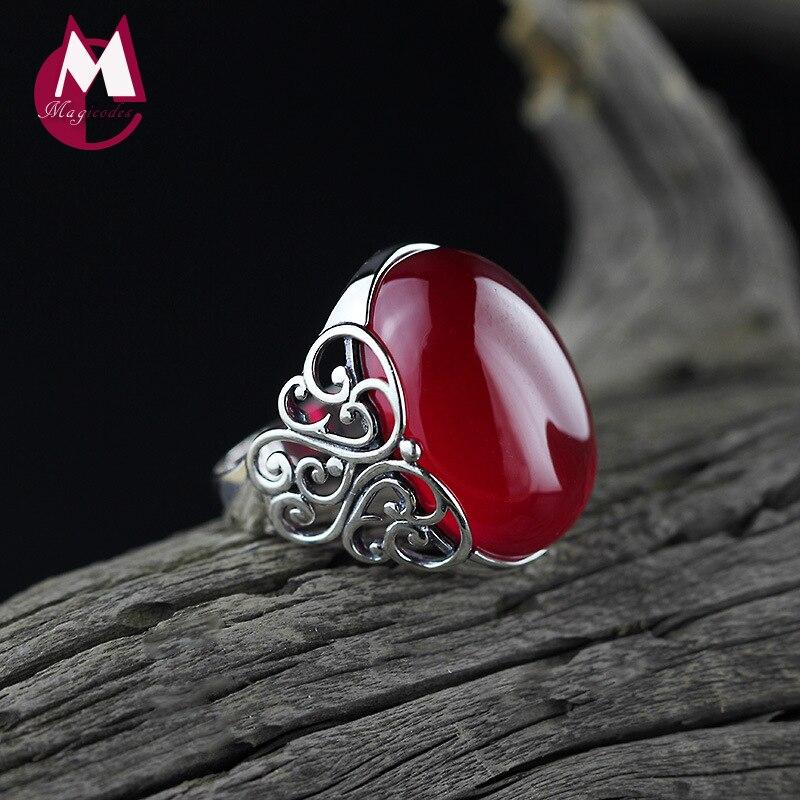 Anillo 100% de plata esterlina 925 para mujer, joyería fina de piedras preciosas para mujer, anillo de boda de Jade rojo de moda, flor grabada hueca SR19