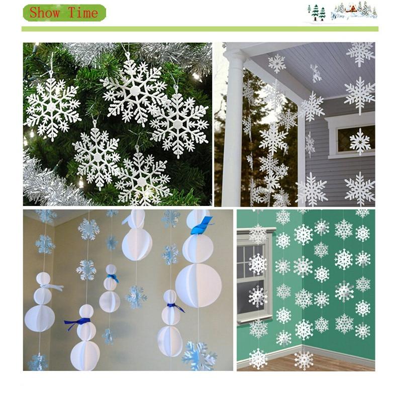 ¡Novedad de 2018! 12 Uds./tira de papel 3D copo de nieve blanco de Navidad adornos colgantes festivos Festival Fiesta decoración del hogar guirnalda