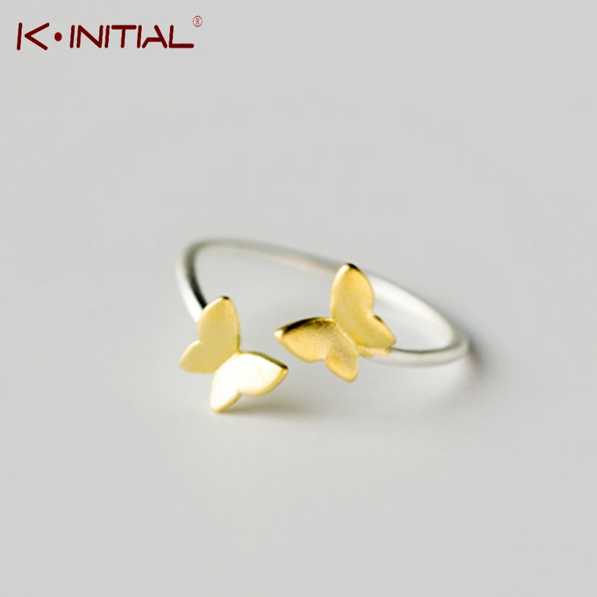 Anillo de mariposa de oro de Color plateado Kinitial, Anillo abierto Midi, Anillo para dedo del pie, Anillo para mujer, joyería de Navidad