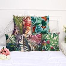 Housse de coussin en lin décoratif   Illustration de plantes tropicales, feuilles, housses de coussins, fleurs pour oiseaux, palmier, housse de coussin