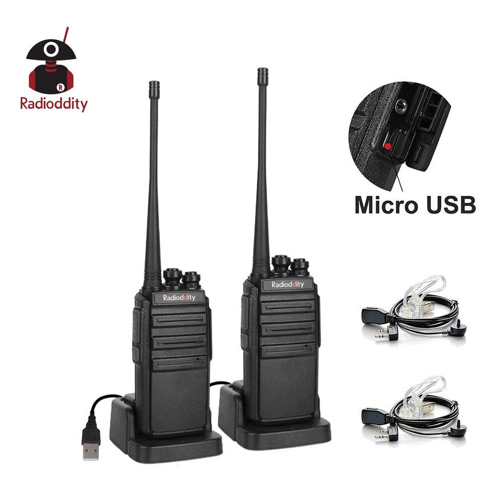 2 pièces radioddité GA-2S UHF Radio bidirectionnelle 16CH Rechargeable VOX longue portée talkie-walkie Micro USB Charing avec chargeur + écouteur