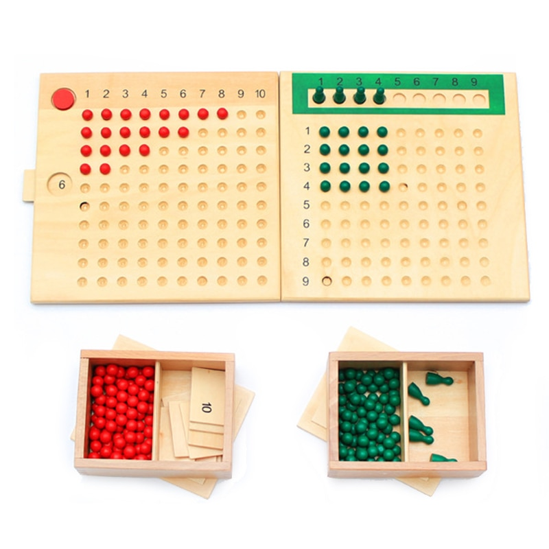 Juguete educativo de madera Montessori para matemáticas, tablero de cuentas de división y multiplicación, cuentas verdes Rojas, preescolar de primera infancia