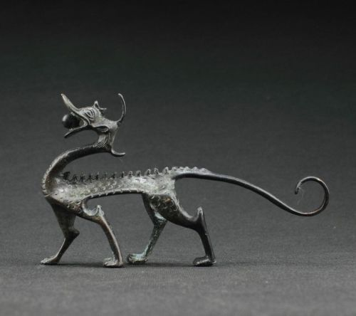 Coleccionables raros decoración antigua trabajo manual bronce dragón tallado maravillosa estatua