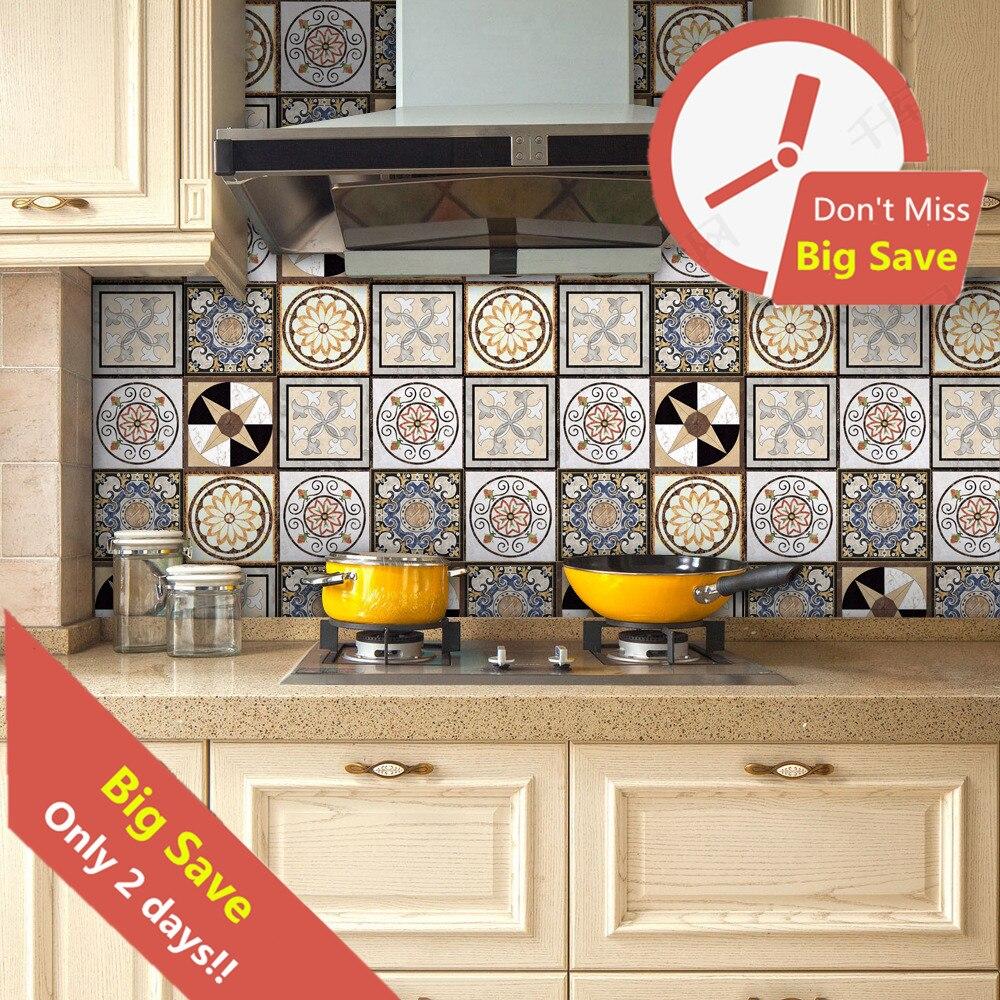 Pegatina decorativa de pared azulejos de cerámica resistentes al agua 320*20cm para cocina pegatina adhesiva para muebles papel tapiz para armario papel de Contacto