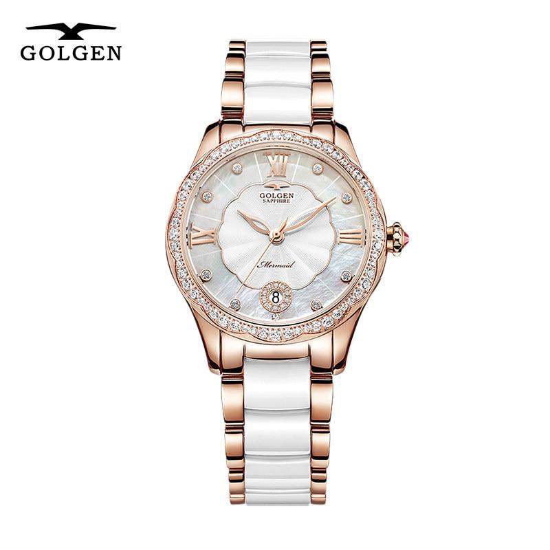 GOLGEN-ساعة ميكانيكية سيراميك للنساء ، ماركة فاخرة ، مقاومة للماء ، هيكل عظمي ، ساعة يد Relogio Feminino ، هدايا