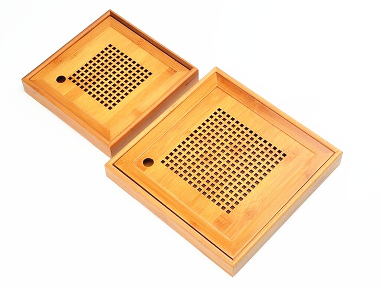 Hot Sale 2 Size Kung Fu Tea Set Natural Wood Bamboo Tea Tray Rectangular Traditional Bamboo Puer Tea Tray Chahai Tea Table