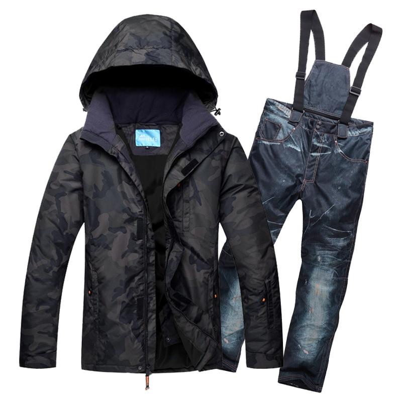 أطقم تزلج للرجال, طقم تزلج للرجال علامة تجارية جديدة سترة + بنطلون ملابس الثلج للبالغين مقاومة للماء دافئة مقاومة-30 درجة بدلة تزلج للرجال