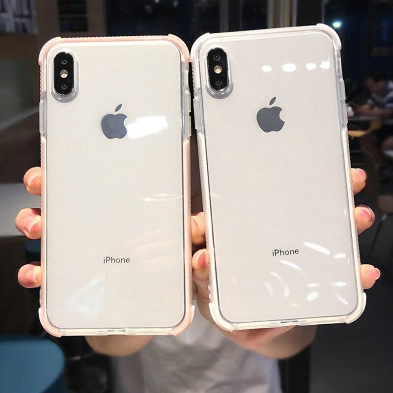 Funda de teléfono de silicona transparente a prueba de golpes para iPhone 11Pro Max X XR XS Max 8 7 6 6S Plus funda de protección transparente