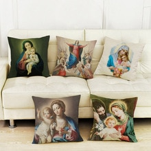 Virgin Mary Cushion Cover MotherDay Gift Throw Pillow Case Christianity Worship Home Decorative Pillow Cover funda de cojin Case