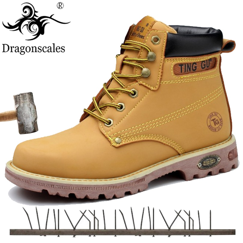 2020 Genuine Leather Men Steel Toe Cap Dr Martin Boots Autumn Winter Work Safety Boots Solid Ankle Boots Punk Men Safety Shoes