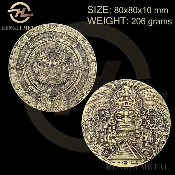 Medallón con moneda de bronce antigua de 80x10mm, enorme, Azteca mesoamericana, nuevo calendario, moneda Maya 1 Uds., arte mexicano