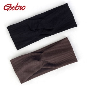 Geebro Fashion Cross Knot Ribbed Headband For Women Bohemia Elastic Hairband Female Turban Wraps Striped Cotton Band Twist DQ803