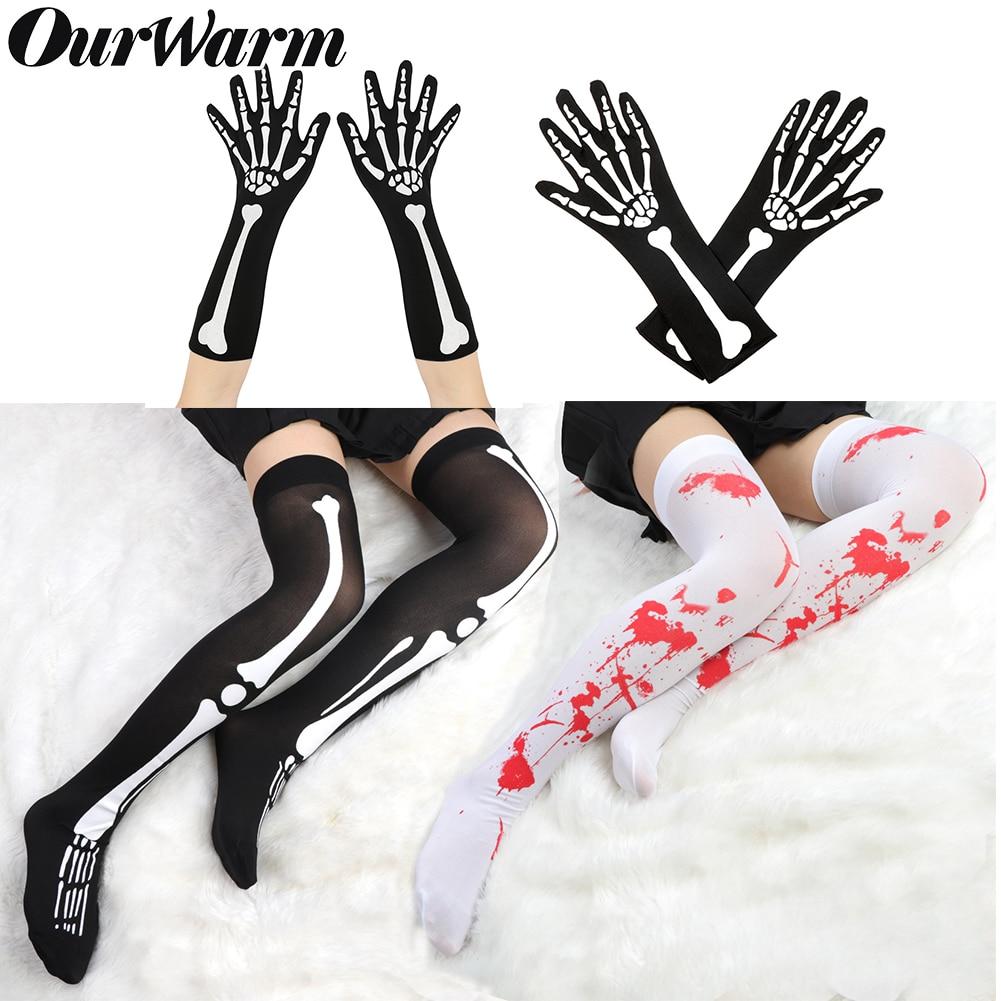 OurWarm de la rodilla de calcetines negro esqueleto Halloween calcetines guantes de parte de las mujeres disfraces de halloween de alta del muslo Calcetines