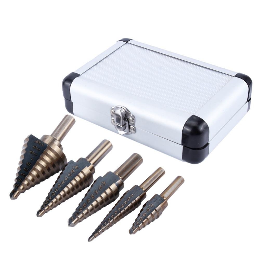 Brocas de 5 uds HSS Cobalt Step taladros orificios múltiples juego de brocas w/taladro de cono de titanio con caja de aluminio cortador de agujeros brocas de sierra