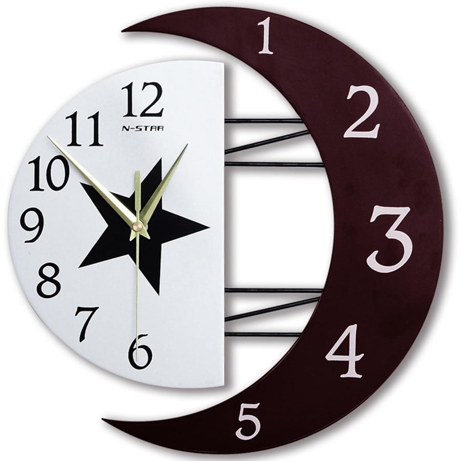 Reloj de pared silencioso de madera 3D de diseño moderno reloj de pared Luna estrella decoración Pow superventas 2019 productos de cocina de oficina 3DBGV27