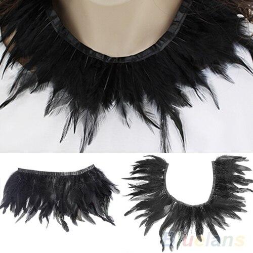 2020 New Hot Black Feather Handmade Neck Collar Cape Poncho Party Evening Dress DIY Cloth Decor Accessory Xmas Gift